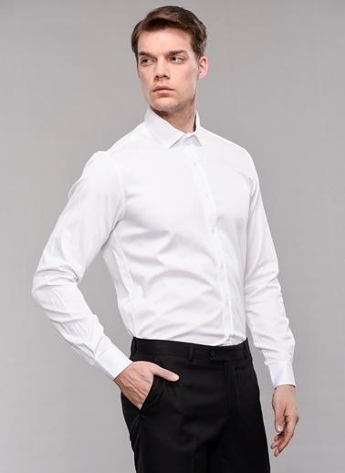 People By Fabrika Likralı Saten Gömlek Beyaz